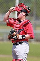 Boston Red Sox minor league catcher Christian Vazquez (24) during a game vs. the Minnesota Twins in an Instructional League game at Lee County Sports Complex in Fort Myers, Florida;  October 2, 2010.  Photo By Mike Janes/Four Seam Images