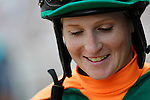 July 27, 2014: Rosie Napravnik waits for the call of riders up before the Gr. III Winstar Matchmaker Stakes at Monmouth Park in Oceanport, NJ. She rode She's Not Lazy, who finished 4th. ©Joan Fairman Kanes/ESW/CSM