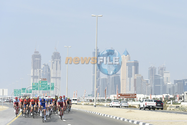 The start of Stage 5 The Meraas Stage final stage of the Dubai Tour 2018 the Dubai Tour's 5th edition, running 132km from Skydive Dubai to City Walk, Dubai, United Arab Emirates. 10th February 2018.<br /> Picture: LaPresse/Fabio Ferrari   Cyclefile<br /> <br /> <br /> All photos usage must carry mandatory copyright credit (© Cyclefile   LaPresse/Fabio Ferrari)
