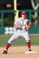 Eric Smith of the Stanford Cardinal takes a throw against the USC Trojans at Dedeaux Field in Los Angeles,California on April 8, 2011. Photo by Larry Goren/Four Seam Images
