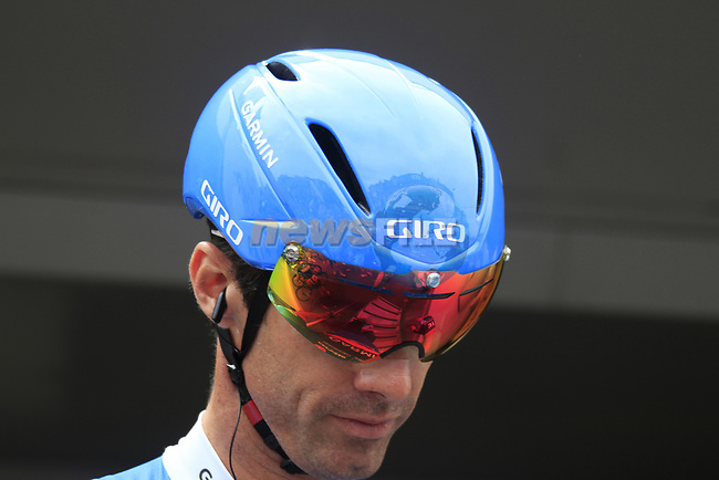 David Millar (GBR) Garmin-Sharp with a new Giro helmet at sign on before the start of Stage 2 of the 99th edition of the Tour de France 2012, running 207.5km from Vise to Tournai, Belgium. 2nd July 2012.<br /> (Photo by Eoin Clarke/NEWSFILE)