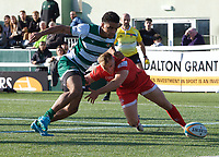 Reon Joseph of Ealing Trailfinders and Luc Jones of Jersey Reds during the Greene King IPA Championship match between Ealing Trailfinders and Jersey at Castle Bar, West Ealing, England  on 19 October 2019. Photo by Alan Stanford / PRiME Media Images