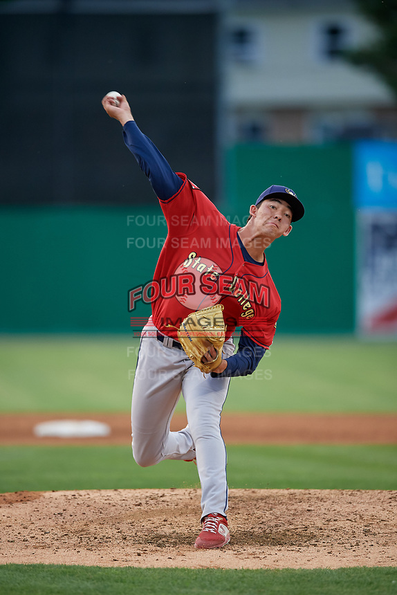 State College Spikes relief pitcher Jack Ralston (27) during a NY-Penn League game against the Batavia Muckdogs on July 2, 2019 at Dwyer Stadium in Batavia, New York.  Batavia defeated State College 1-0.  (Mike Janes/Four Seam Images)
