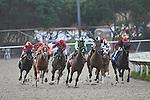24 July 2009: Horses turn into the stretch at Del Mar Race Track, Del Mar, CA