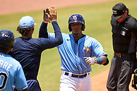 FCL Rays catcher Mario Fernandez (59) celebrates hitting a home run during a game against the FCL Twins on July 20, 2021 at Charlotte Sports Park in Port Charlotte, Florida.  (Mike Janes/Four Seam Images)