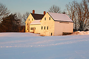 Wagon Hill Farm in Durham, New Hampshire at sunset during the winter months.