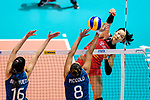 Ting Zhu of China (R) attacks during the FIVB Volleyball Nations League Hong Kong match between China and Argentina on May 29, 2018 in Hong Kong, Hong Kong. Photo by Marcio Rodrigo Machado / Power Sport Images