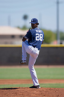 San Diego Padres pitcher Henry Henry (28) delivers a pitch to the plate during an Instructional League game against the Texas Rangers on September 20, 2017 at Peoria Sports Complex in Peoria, Arizona. (Zachary Lucy/Four Seam Images)