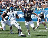 Pitt linebacker Matt Galambos rushes Villanova quarterback Zach Bednarczyk. The Pitt Panthers defeated the Villanova Wildcats 28-7 at Heinz Field, Pittsburgh, Pennsylvania on September 3, 2016.