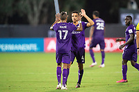 LAKE BUENA VISTA, FL - JULY 31: Joao Moutinho #4 and Nani #17 of Orlando City SC celebrates a goal during a game between Orlando City SC and Los Angeles FC at ESPN Wide World of Sports on July 31, 2020 in Lake Buena Vista, Florida.