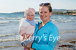 Little Heidi Casey and her mom Fiona Casey going for a walk on Ballyheigue beach on Thursday