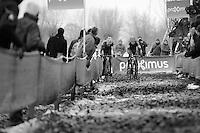 Mathieu Vanderpoel (NLD/BKCP-Powerplus) & Wout Van Aert (BEL/Vastgoedservice-Golden Palace) fighting it out between them in a sea of sticky mud<br /> <br /> Azencross Loenhout 2014