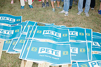 Supporters of Democratic presidential candidate Pete Buttigieg wait to march before the Labor Day Parade in Milford, New Hampshire, on Mon., September 2, 2019. Candidates Bernie Sanders and Vermin Supreme were the only candidates who marched in the parade this year.