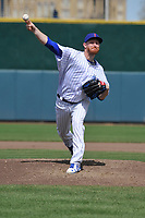 Iowa Cubs starting pitcher Eddie Butler (46) throws during a game against the Round Rock Express at Principal Park on April 16, 2017 in Des  Moines, Iowa.  The Cubs won 6-3.  (Dennis Hubbard/Four Seam Images)