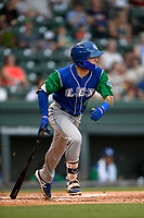 Center fielder Kyle Isbel (6) of the Lexington Legends runs to first base during a game against the Greenville Drive on Sunday, September 2, 2018, at Fluor Field at the West End in Greenville, South Carolina. Greenville won, 7-4. (Tom Priddy/Four Seam Images)