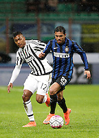 Calcio, Coppa Italia: semifinale di ritorno Inter vs Juventus. Milano, stadio San Siro, 2 marzo 2016. <br /> FC Inter's Eder, right, is challenged by Juventus' Alex Sandro during the Italian Cup second leg semifinal football match between Inter and Juventus at Milan's San Siro stadium, 2 March 2016.<br /> UPDATE IMAGES PRESS/Isabella Bonotto