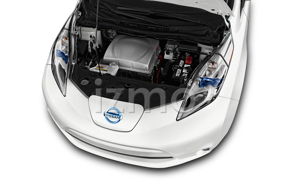 Car stock 2017 Nissan Leaf SL 5 Door Hatchback engine high angle detail view