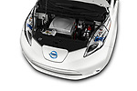 Car stock 2017 Nissan Leaf SL 5 Door Hatchback engine high angle detail view