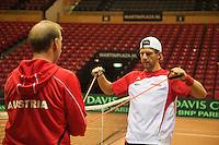 11-sept.-2013,Netherlands, Groningen,  Martini Plaza, Tennis, DavisCup Netherlands-Austria, practice,<br /> warming up,  Jurgen Melzer (AUT)<br /> Photo: Henk Koster