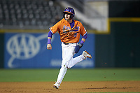 Sam Hall (5) of the Clemson Tigers hustles towards third base against the Charlotte 49ers at BB&T BallPark on March 26, 2019 in Charlotte, North Carolina. The Tigers defeated the 49ers 8-5. (Brian Westerholt/Four Seam Images)