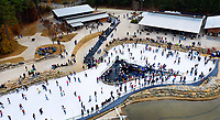 Photography of the new ice skating feature located at the U.S. National Whitewater Center in Charlotte, North Carolina. Enjoy ice skating on the trail or free skate on 17,000 square feet of ice located in the Upper Pond of the Whitewater Center.<br /> <br /> Charlotte Photographer - PatrickSchneiderPhoto.com