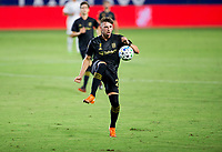 CARSON, CA - SEPTEMBER 06: Tristan Blackmon #27 of the LAFC traps a ball during a game between Los Angeles FC and Los Angeles Galaxy at Dignity Health Sports Park on September 06, 2020 in Carson, California.