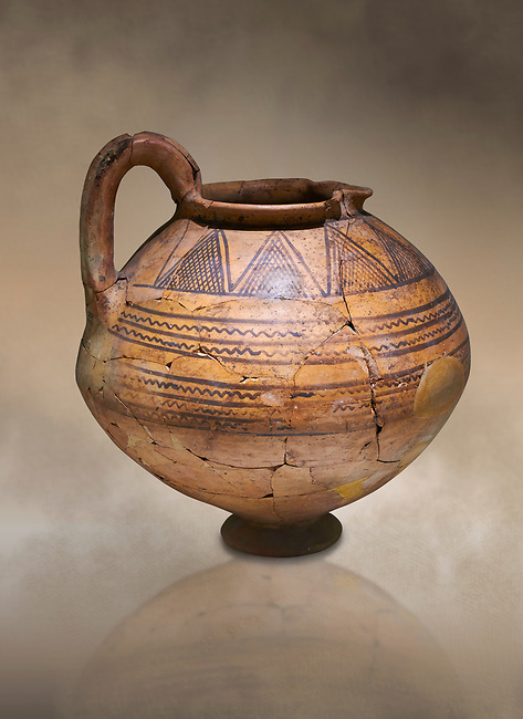 Phrygian terra cotta jug with geometric designs from Gordion. Phrygian Collection, 8th century BC - Museum of Anatolian Civilisations Ankara. Turkey. Against an art background