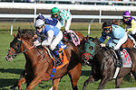 Lily the Pink and Julien Leparoux win the 7th race, Allowance $52,000 for fillies and mares at Keeneland Racecourse.  October 12, 2012