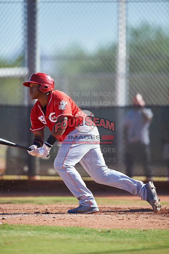 Cincinnati Reds Kevin Franklin (19) during an Instructional League game against the Milwaukee Brewers on October 14, 2016 at the Maryvale Baseball Park Training Complex in Maryvale, Arizona.  (Mike Janes/Four Seam Images)
