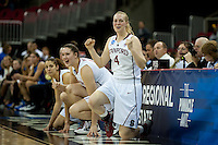 FRESNO, CA--Taylor Greenfield celebrates during the final minutes en route to a 81-69 win over Duke at the Save Mart Center for the West Regionals Championship of the 2012 NCAA Championships. The Cardinal advances to the Final Four in Denver, facing Baylor in the semifinals.