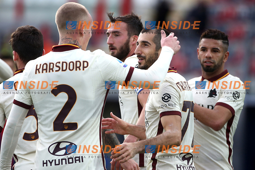 Henrikh Mkhitaryan of AS Roma (R) celebrates with Rick Karsdorp after scoring the goal of 0-3 during the Serie A football match between FC Crotone and AS Roma at stadio Ezio Scida in Crotone (Italy), January 6th, 2020. Photo Gino Mancini / Insidefoto