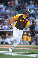 Ryon Healy of the USA Team runs to first base during a game against the World Team during The Futures Game at Petco Park on July 10, 2016 in San Diego, California. World Team defeated USA Team, 11-3. (Larry Goren/Four Seam Images)
