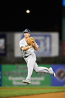 Trenton Thunder second basmean Tony Renda (9) throws to first during a game against the Binghamton Mets on August 8, 2015 at NYSEG Stadium in Binghamton, New York.  Trenton defeated Binghamton 4-2.  (Mike Janes/Four Seam Images)