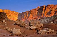Sunrise on Vermillion Cliffs at Vermillion Cliffs National Monument, west of Lees Ferry, Arizona, AGPix_0375.