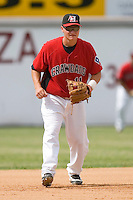 Third baseman Matt West #11 of the Hickory Crawdads on defense versus the West Virginia Power at L.P. Frans Stadium June 21, 2009 in Hickory, North Carolina. (Photo by Brian Westerholt / Four Seam Images)