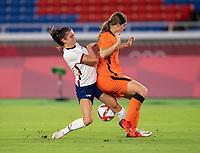 YOKOHAMA, JAPAN - JULY 30: Stefanie van der Gragt #3 defends Alex Morgan #13 of the USWNT during a game between Netherlands and USWNT at International Stadium Yokohama on July 30, 2021 in Yokohama, Japan.