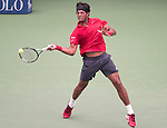 Joao Sousa (BRA) loses to Novak Djokovic (SRB) 6-1, 6-1, 6-1 at the US Open in Flushing, NY on August 31, 2015.