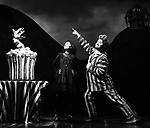 """Sophia Anne Caruso and Alex Brightman during the """"Beetlejuice"""" Celebrates 100th Performance on Broadway with Big Sandy the Sandworm and Shrunken Head Guy at the Winter Garden Theatre on July 23, 2019 in New York City."""