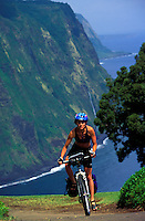 A woman biking up the steep road out of Waipio Valley with cliffs in the background