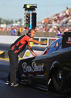 Jul 8, 2016; Joliet, IL, USA; Crew member for NHRA funny car driver Brian Stewart during qualifying for the Route 66 Nationals at Route 66 Raceway. Mandatory Credit: Mark J. Rebilas-USA TODAY Sports