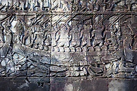 Cambodia, Bayon Temple, late 12th-13th. Century. Bas-relief Carvings.  Cham warriors engaged in a 12th-century naval battle, attacking the Khmer.