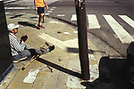 Beggar disabled Buenos Aires Argentina South America poverty poor unemployed out of work man begging asking for help. 2002 2000s