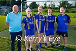 Sean Og's sponsoring the jerseys of the Ballymac LGFA senior ladies team. L to r: Una Kerins, Ellie McElligott, Emma Sweeney, John McElligott and Anthony Curran.