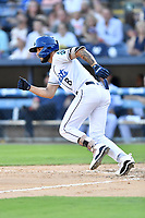 Asheville Tourists Joe Perez (8) runs to first base during a game against the Aberdeen IronBirds on June 15, 2021 at McCormick Field in Asheville, NC. (Tony Farlow/Four Seam Images)