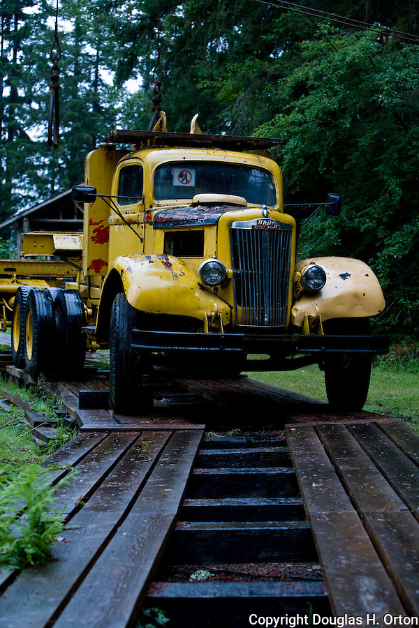 Antique Logging truck, on Vancouver Island, British Columbia drove on temporary wooden roads to deliver logs to rail.