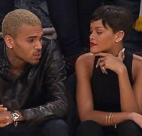 LOS ANGELES, CA - DECEMBER 25: Recording artists Chris Brown and Rihanna attend a game between the New York Knicks and the Los Angeles Lakers at Staples Center on December 25, 2012 in Los Angeles, California   <br /> <br /> People:  Chris Brown_Rihanna