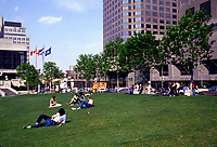 1985 File Photo - Places-des-arts grass in front on Complexe Desjardins in downtown Montreal.