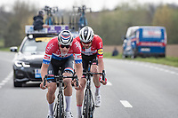 Mathieu Van der Poel (NED/Alpecin-Fenix) & Kasper Asgreen (DEN/Deceuninck - Quick Step) in the race finale<br /> <br /> 105th Ronde van Vlaanderen 2021 (MEN1.UWT)<br /> <br /> 1 day race from Antwerp to Oudenaarde (BEL/264km) <br /> <br /> ©kramon