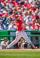 26 April 2014: Washington Nationals outfielder Kevin Frandsen loses the grip on his bat and striking out swinging in the first inning against the San Diego Padres at Nationals Park in Washington, DC. The Nationals shut out the Padres 4-0 to take the third game of their 4-game series. Mandatory Credit: Ed Wolfstein Photo *** RAW (NEF) Image File Available ***