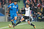 Jorge Molina Vidal of Getafe CF in action against Ruben Miguel Nunes Vezo of Valencia CF during the La Liga 2017-18 match between Getafe CF and Valencia CF at Coliseum Alfonso Perez on December 3 2017 in Getafe, Spain. Photo by Diego Gonzalez / Power Sport Images